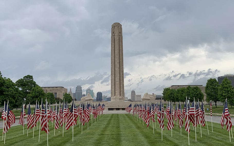 A display of 140 American flags is on view at the National World War I Museum's Memorial Mall throughout the Memorial Day weekend. The flags represent the number of veterans estimated to die by suicide each week.