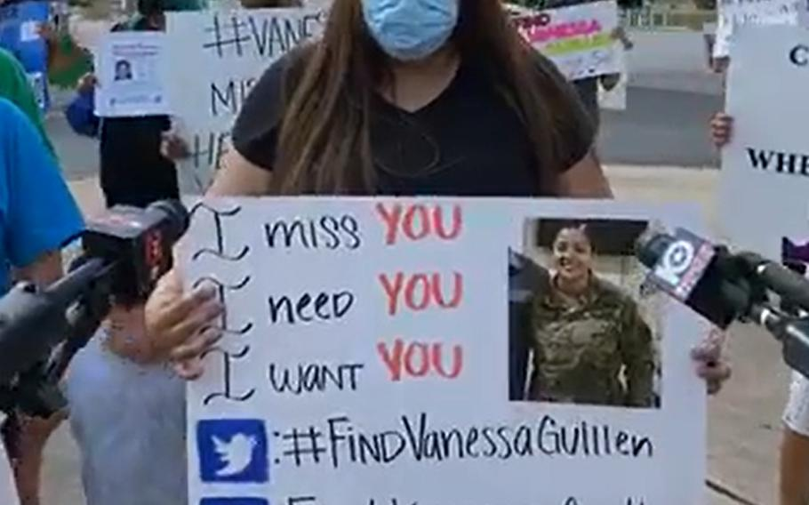 In this screenshot from a recent screenshot Facebook Live event, Mayra Guillen speaks to the media during a gathering outside of an entrance to Fort Hood, Texas, to draw attention to her sister, Pfc. Vanessa Guillen, who has been missing for one month.