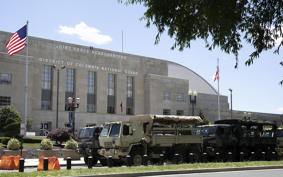 Vehicles for the District of Columbia National Guard are seen outside the D.C. Armory, Monday, June 1, 2020, in Washington.