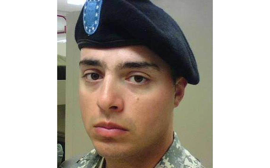 Jared Esquibel Harless, shown here in an undated photo from social media, was assigned to the 470th Military Intelligence Brigade. He was found dead alongside his family at a residence in San Antonio Thursday evening.