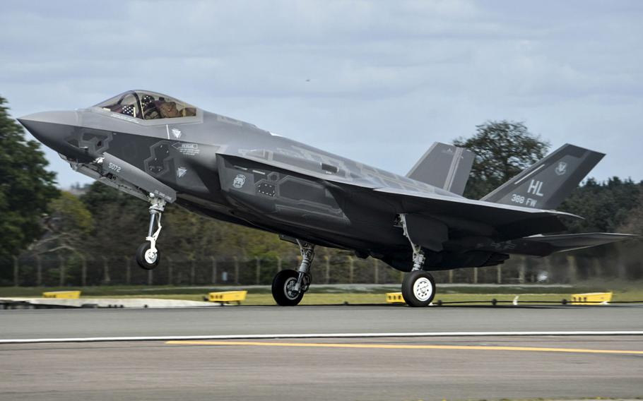 In a 2017 photo, an F-35A Lightning II from the 34th Fighter Squadron at Hill Air Force Base, Utah, lands at Royal Air Force Lakenheath, England.