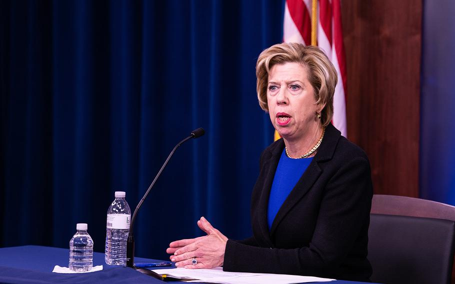 Under Secretary of Defense for Acquisition and Sustainment, Ellen M. Lord speaks to members of the press during a press briefing at the Pentagon, Washington D.C., Oct. 18, 2019.