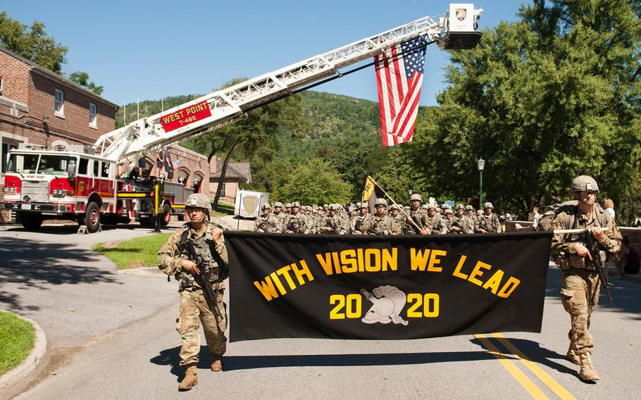 Class of 2020 cadets from the U.S. Military Academy at West Point, N.Y. completed a 12-mile road march from Camp Buckner on Aug. 8, 2016. The March Back marked the new cadets' final challenge of Cadet Basic Training.