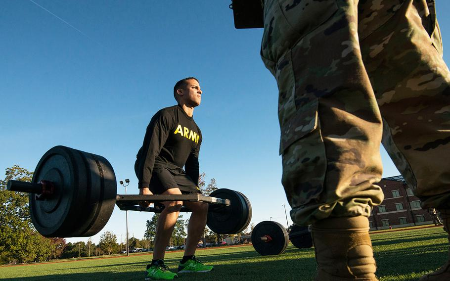 In an Oct. 23. 2018 photo, a soldier with the 128th Aviation Brigade at Fort Eustis, Va., attempts the deadlift during a demonstration of the Army's new Army Combat Fitness Test.