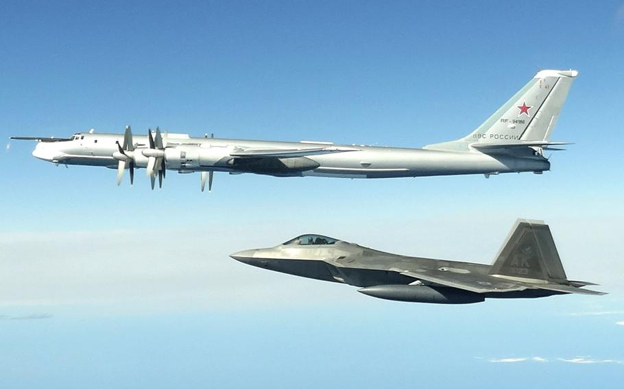 North American Aerospace Defense Command F-22 Raptors, supported by KC-135 Stratotankers and an E-3 Airborne Warning and Control System, successfully completed two intercepts of Russian bomber aircraft formations entering the Alaskan Air Defense Identification Zone.