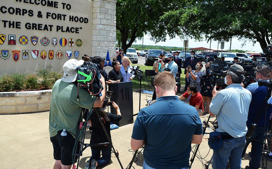 Gloria Guillen, the mother of missing Fort Hood soldier Pfc. Vanessa Guillen speaks with the media on June 23, 2020 outside the main entrance to Fort Hood, Texas. The young soldier was last seen April 22 and her disappearance has gained national attention.
