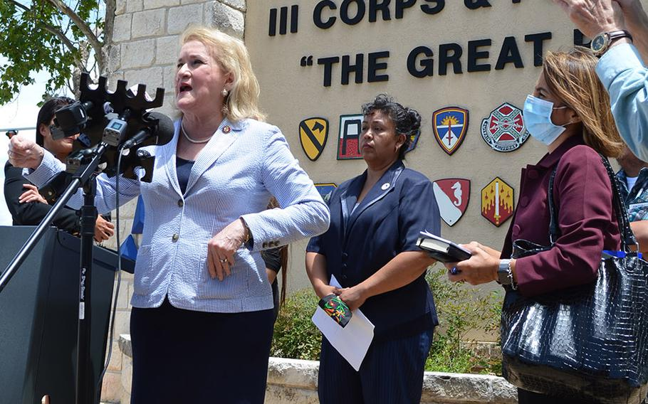 Rep. Sylvia Garcia, D-Texas, speaks with the media outside the main entrance to Fort Hood, Texas, on June 23, 2020 about the investigation to find Pfc. Vanessa Guillen, who has been missing for two months.