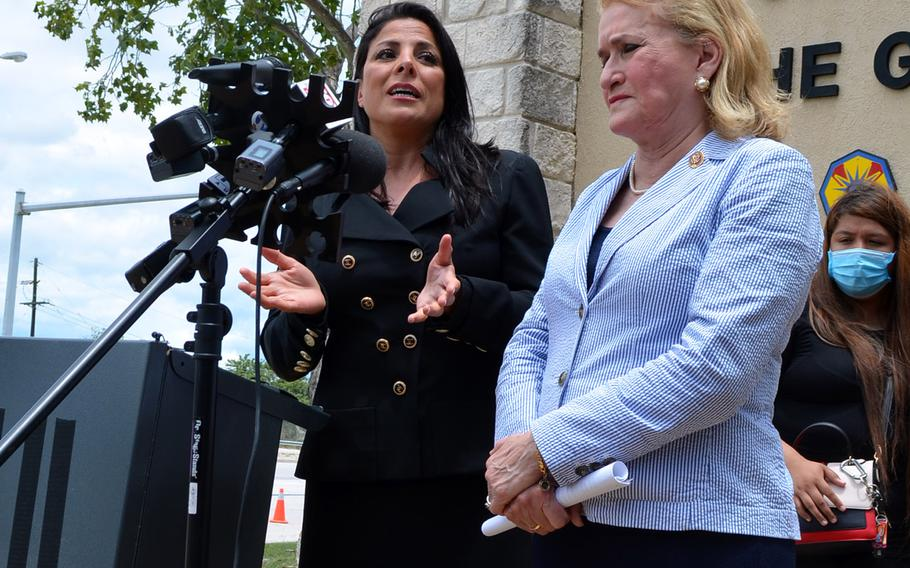 Natalie Khawam, the attorney for the family of missing Fort Hood soldier Pfc. Vanessa Guillen, and Rep. Sylvia Garcia, D-Texas, speak with the media on June 23, 2020 outside the main entrance to Fort Hood, Texas.
