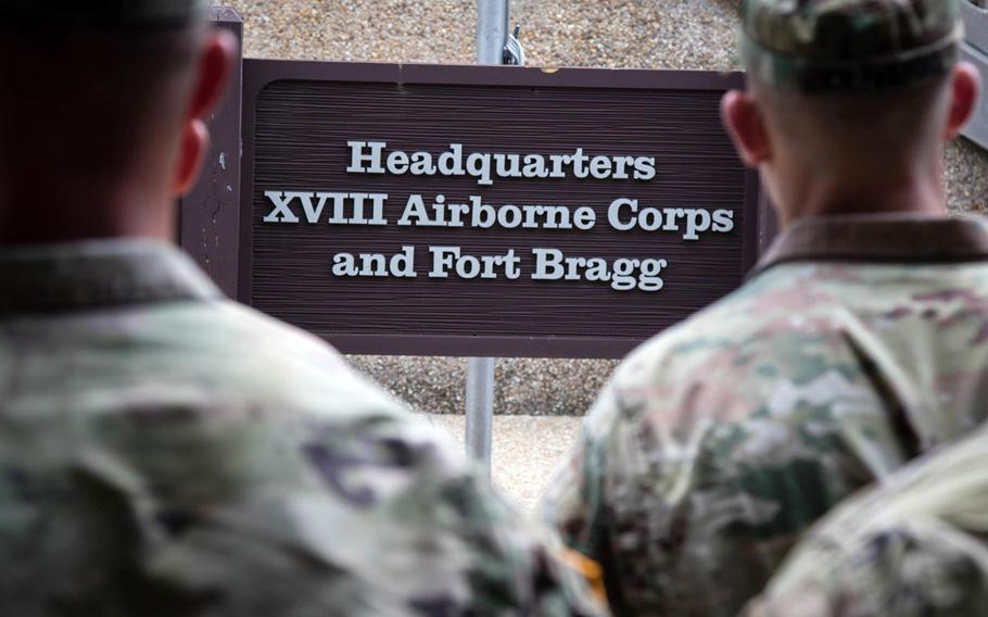 Soldiers gather for a 2019 awards ceremony at Fort Bragg, N.C. The base is one of 10 Army facilities named after Confederate generals.