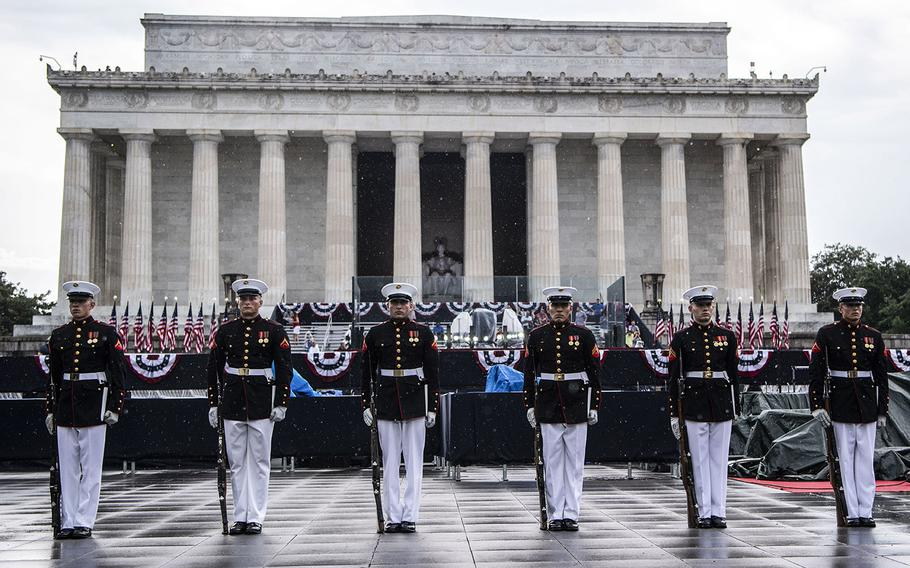 The U.S. Marine Corps Silent Drill Platoon performs at the Salute to America Independence Day celebration in Washington, D.C., July 4, 2019.