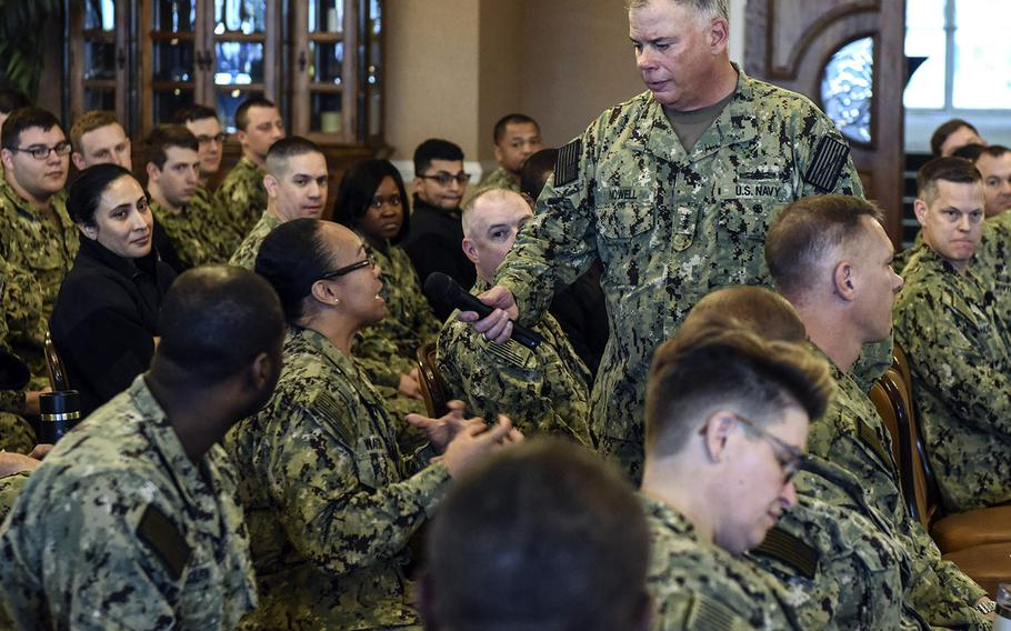 In a Nov. 18, 2019 photo, Chief of Naval Personnel Vice Adm. John Nowell engages with sailors during a MyNavyHR Career Development Symposium at Naval Station Mayport, Fla.