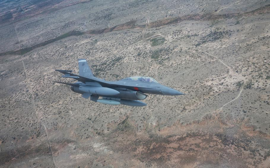An F-16 approaches Holloman Air Force Base, New Mexico, April 21, 2019.