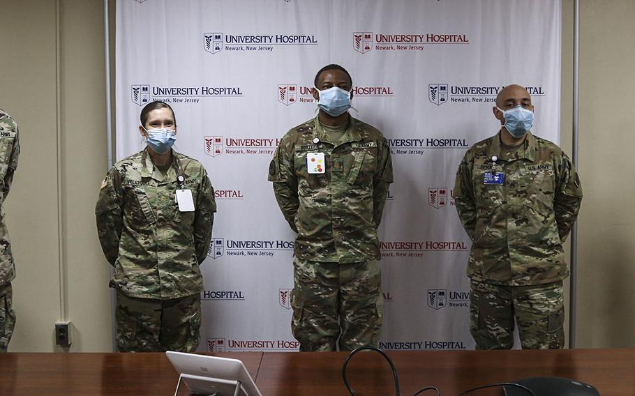 U.S. Army Brig. Gen. James Smith, Commanding General of 3rd Expeditionary Sustainment Command deployed from Fort Bragg, N.C.; Maj. Erin Velazquez, Commander of 332-1 Urban Augmentation Medical Force Task; Maj Derrick Foster, Jr. Executive Officer 332-1 Urban Augmentation Medical Force Task; Staff Sgt Mauricio Pena, Task Force First Sergeant out of Nashville, Tenn.; and Command Sergeant Maj. Sean J Rice, Senior Enlisted Advisor 3rd Expeditionary Sustainment Command deployed from Fort Bragg, NC., pose for a photo after their tour of University Hospital, Newark, N.J. April 19, 2020.