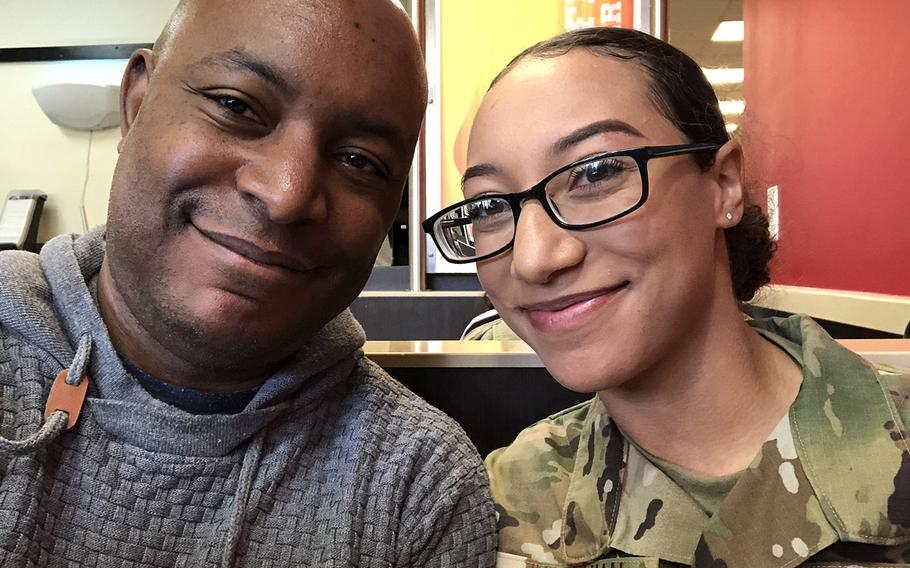 Airman 1st Class Natasha Aposhian and her father, Brian Murray. Aposhian was shot and killed by another airman at Grand Forks Air Force Base, N.D., on June 1 and her parents continue to seek answers about the circumstances of her death.