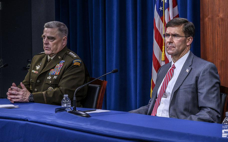 Chairman of the Joint Chiefs of Staff Army Gen. Mark A. Milley and Defense Secretary Dr. Mark T. Esper, during a virtual global town hall at the Pentagon, July 17, 2020.