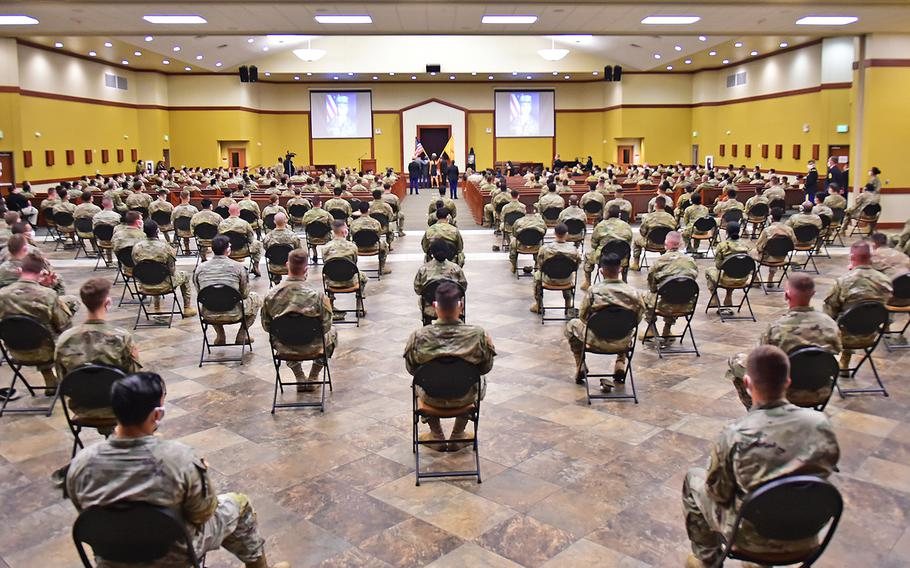 Memorial Gathering: Several hundred people — family, friends and fellow soldiers — attended the unit memorial ceremony by the Regimental Engineer Squadron, 3rd Cavalry Regiment in honor of Spc. Vanessa Guillen inside the Spirit of Fort Hood Chapel at Fort Hood, Texas, July 17.
