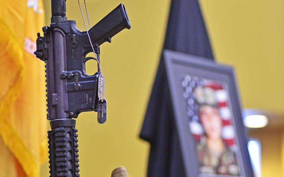 Spc. Vanessa Guillen's Soldier's Cross — including helmet, rifle, identification tags and boots — was the centerpiece inside the Spirit of Fort Hood Chapel at Fort Hood, Texas, July 17.