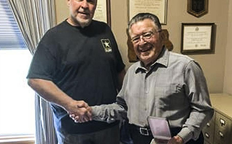 Donald L. Roy, right, and Bryan McManus, commander of Kenison Hooper Post 128, American Legion in Standish, Maine.