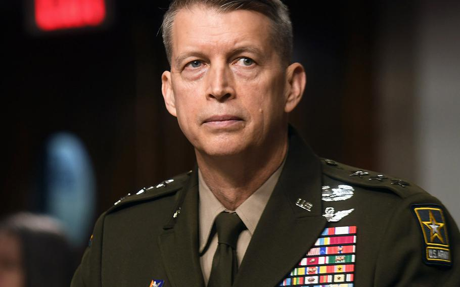 Army Lt. Gen. Daniel Hokanson testifies before the U.S. Senate Committee on Armed Services at a Capitol Hill confirmation hearing for his appointment to the grade of general and to be chief of the National Guard Bureau, June 18, 2020.