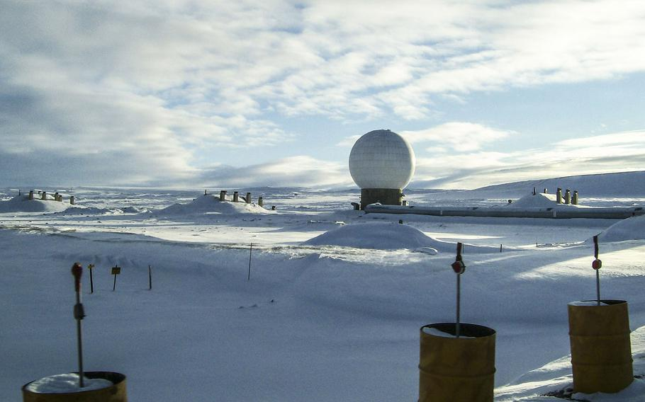 This white golf ball like structure houses one of several radars that scan the skies for foreign military rockets and missiles at Thule Air Base, Greenland.