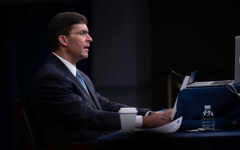 Defense Secretary Mark Esper speaks at the Pentagon July 21, 2020, during a virtual address to the International Institute for Strategic Studies, a London-based think tank.