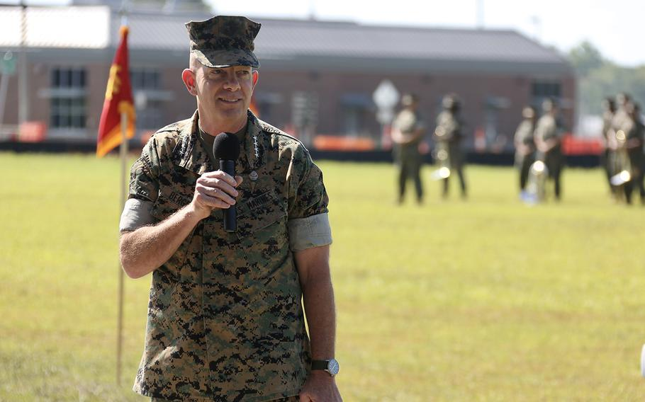 Commandant of the Marine Corps Gen. David H. Berger attends a change of command ceremony aboard Stone Bay, N.C., June 26, 2020.