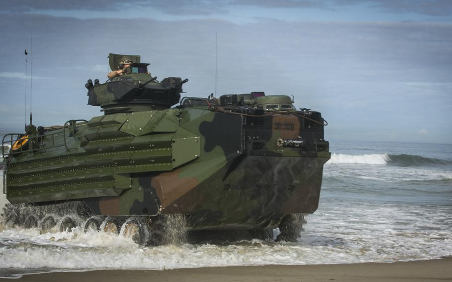 Marines with 15th Marine Expeditionary Unit land ashore on amphibious assault vehicles during training at Camp Pendleton, Calif., in 2017.