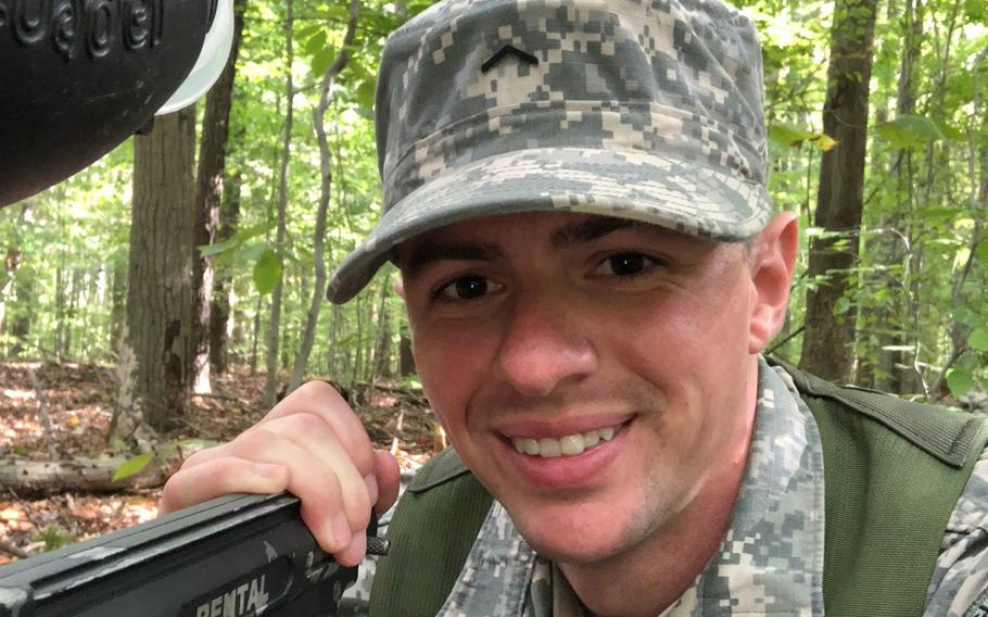 Nicolas Talbott is pictured during ROTC training while he participated in the Army's officer-training program at Kent State University in Ohio in this undated photograph. Talbott, a transgender man, has sued President Donald Trump over the Pentagon's 2019 policy barring most transgender Americans from the military.