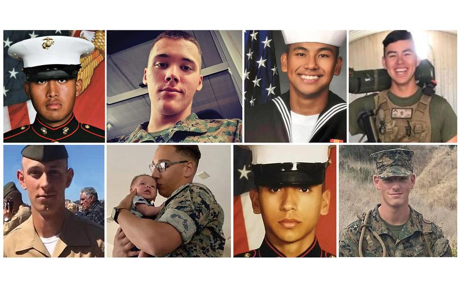 The Marine Corps identifiedseven Marines and one sailor presumed dead, and another Marine whose body was recovered after an accident Thursday involving an assault amphibiousvehicle in Southern California. They include, top row, Pfc. Bryan J. Baltierra, Pfc. Evan A. Bath, NavySeamanChristopherGnemand Lance Cpl. Guillermo S. Perez(recovered);and bottom row, Lance Cpl. Chase D. Sweetwood, Cpl. Wesley A. Rodd, Cpl. Cesar A. Villanueva and Pfc. Jack Ryan Ostrovsky.Not pictured is Lance Cpl. Marco A. Barranco.