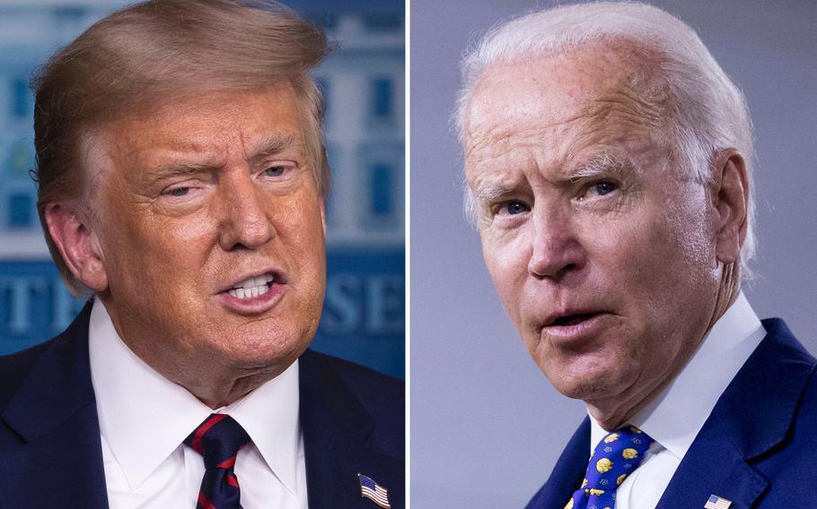 President Donald Trump, left, and Democratic presidential candidate former Vice President Joe Biden.