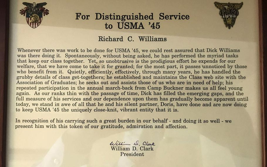 An award Col. Richard Williams received for his work organizing class gatherings and keeping the Class of 1945 connected over the years.