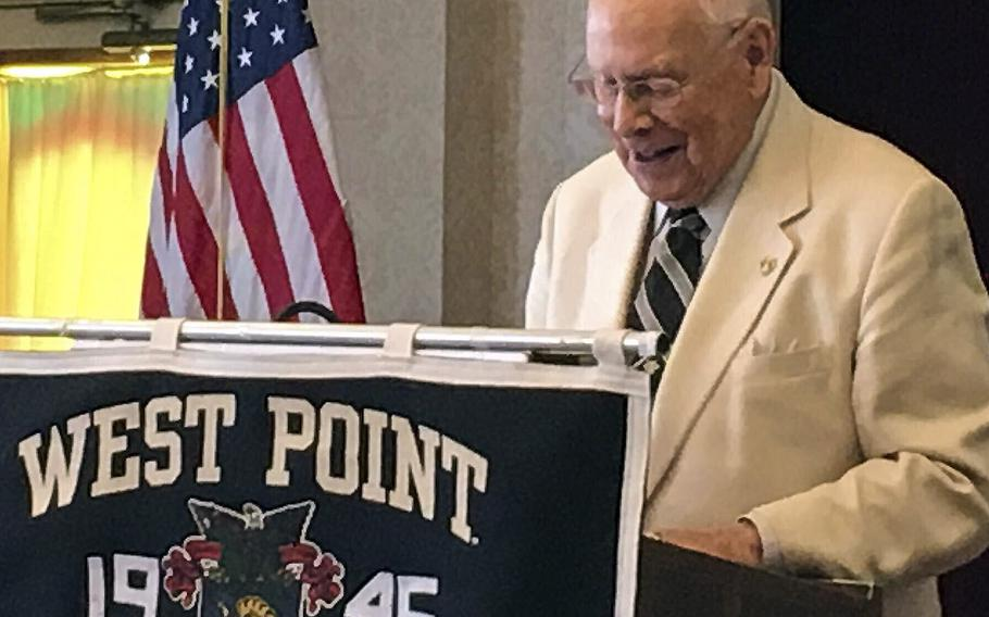 In an undated photo, Col. Richard Williams serves as master of ceremonies at a West Point Class of 1945 event. He did this regularly, but his son, Mike, has recently taken over those duties.