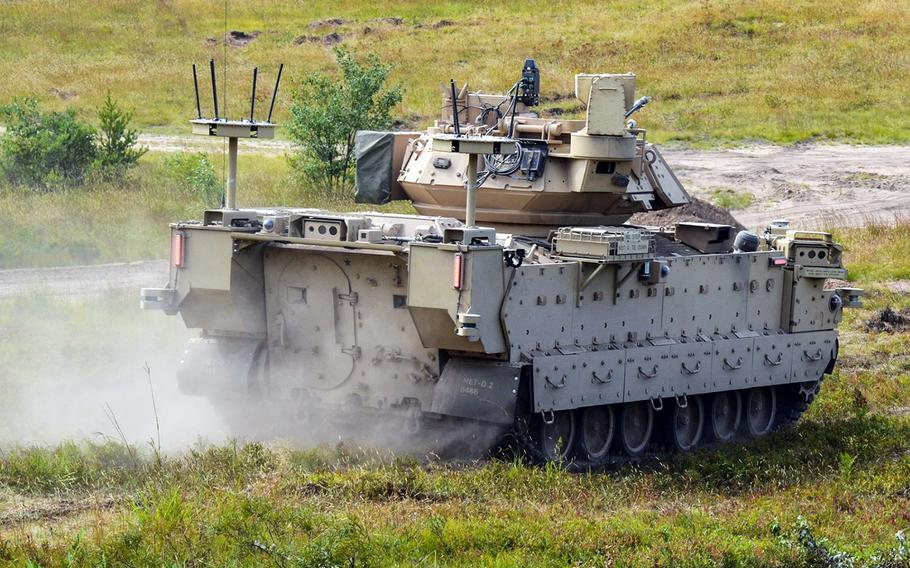 A Modified Bradley Fighting Vehicle, being tested by soldiers at Fort Carson, Colo.