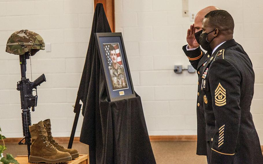 Leaders, the Rosecrans family, friends and fellow soldiers gathered for the 3rd Armored Brigade Combat Team, 1st Cavalry Division's unit memorial ceremony in honor of Pfc. Brandon Rosecrans at the Operation Iraqi Freedom Chapel on Fort Hood, Texas, Aug. 6, 2020.