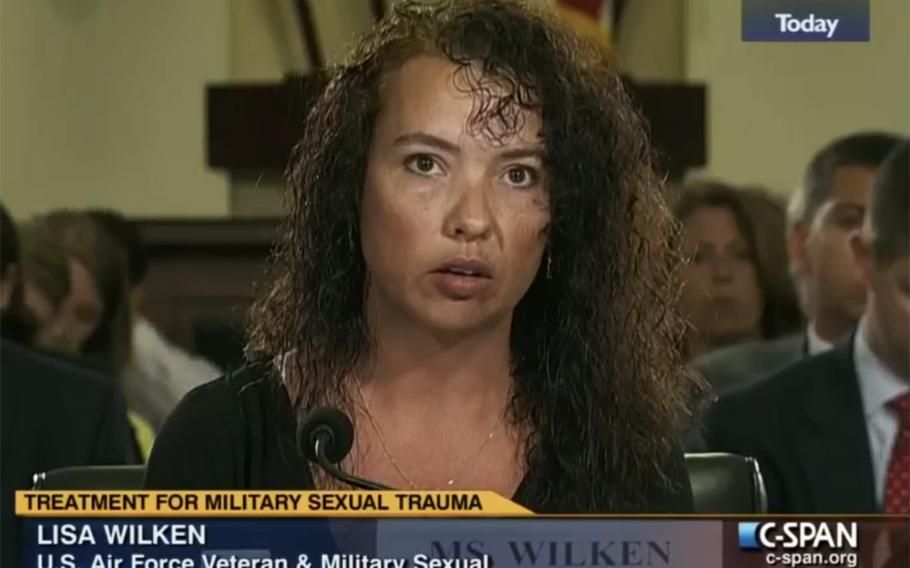 In a screen capture from a C-Span video, Lisa Wilken testifies at a House Veterans' Affairs subcommittee hearing in July, 2013.