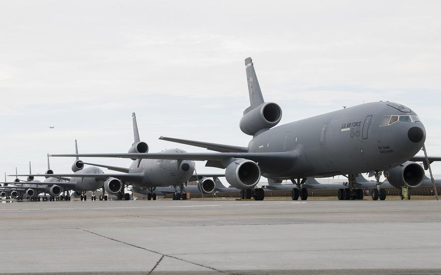 U.S. Air Force KC-10 Extenders from Travis Air Force Base, California, sit on the flightline at Fairchild Air Force Base, Wash., Aug. 20, 2020. The KC-10s and airmen were evacuated from Travis due to the LNU Lightning Complex Fire.