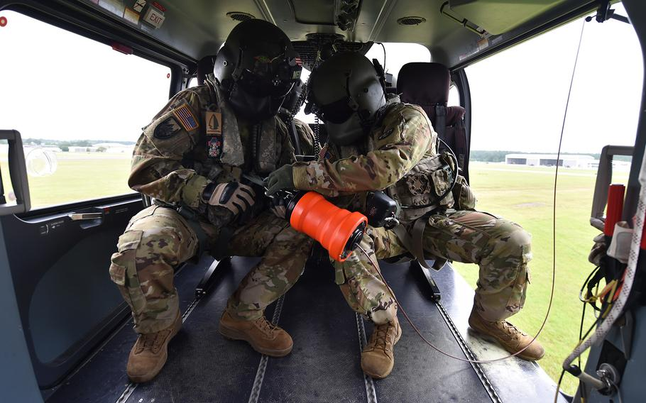 Soldiers with the Louisiana National Guard make preparations for Hurricane Laura on Aug. 24, 2020