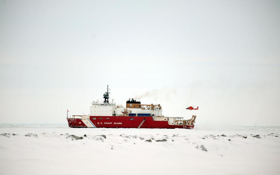 The Coast Guard cutter Healy, an icebreaker, operates off the coast of Nome, Alaska, Jan. 15, 2012.