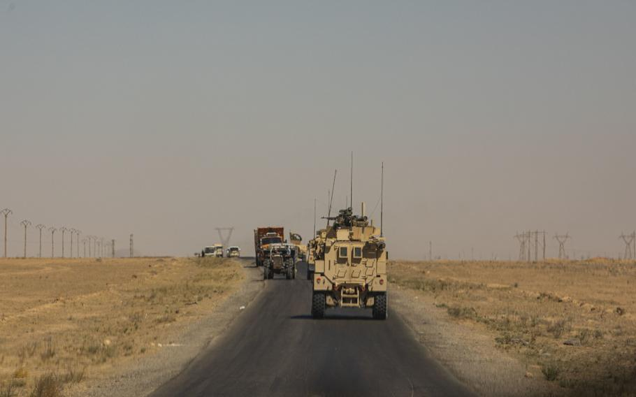 U.S. Marines with Special Purpose Marine Air-Ground Task Force – Crisis Response – Central Command, and U.S. Army soldiers with 2nd Brigade Combat Team, 82nd Airborne Division, conduct a joint security patrol in Syria, Aug. 23, 2020.