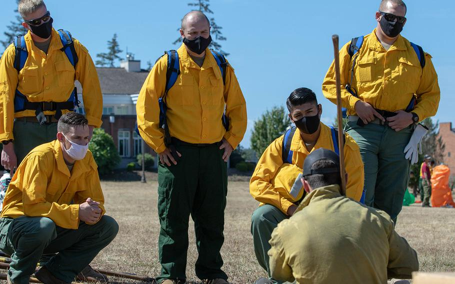 About 200 soldiers from the 14th Brigade Engineer Battalion from Joint Base Lewis-McChord, Wash., trained with the National Interagency Fire Center through the weekend. On Monday, they traveled to northern California to help fight wildfires in the Mendocino National Forest.