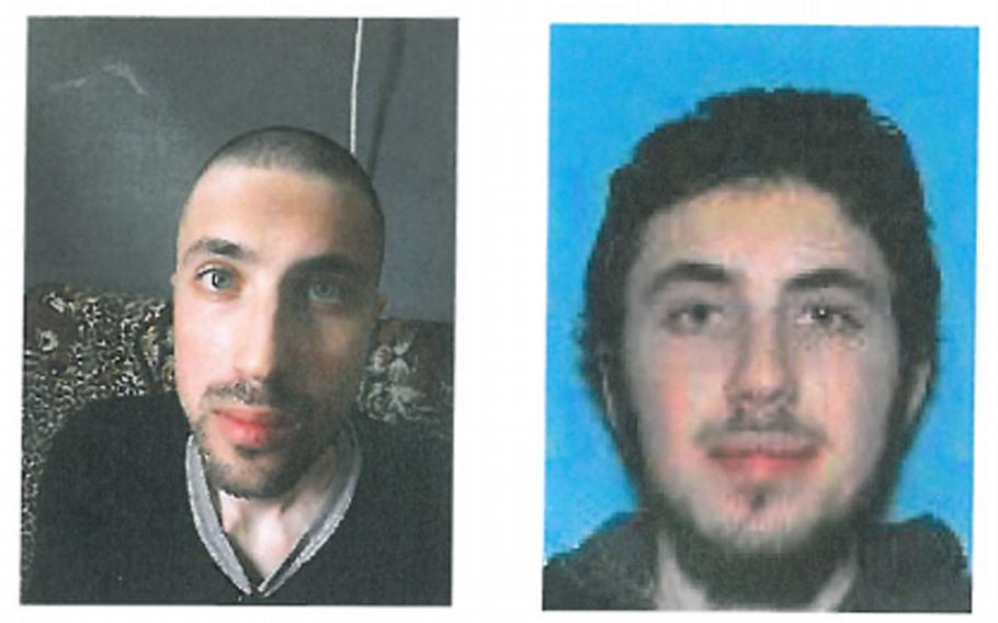 Photos in a criminal complaint filed in federal court in Dallas show Omer Kuzu pictured here before an FBI interview in April 2019, left, and in a driver's license photo from before he left to join the Islamic State group with his brother in October 2014, right.