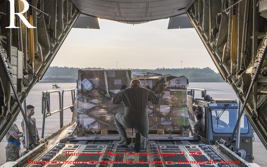 U.S. Air Force Staff Sgt. Clayton Merritt, 37th Airlift Squadron loadmaster, directs a cargo loader at Ramstein Air Base, Germany, Aug. 11, 2020. On behalf of the U.S. Agency for International Development, Ramstein Airmen transported emergency medical kits to Beirut, Lebanon, that will support up to 60,000 people for three months to treat victims of a recent explosion as well as COVID-19 patients.  The medical supplies include medicines, bandages, gauze, examination gloves, thermometers, and syringes.
