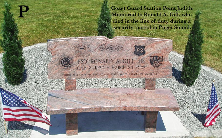 """The family of Cranston, R.I. native Ronald A. Gill joined Coast Guardsmen from around the country May 30, 2008, at Coast Guard Station Point Judith to dedicate a memorial to the fallen sailor who died in the line of duty during a security patrol in Puget Sound in March 2007. Gill's widow Ambur, his daughter Gracie, and parents Ronald and Rosemary unveiled a granite bench, inscribed with the words """"Think not upon my passing, but remember the glory of my spirit,"""" as other family members and friends looked on. Gill, 26, was a port security specialist assigned to Coast Guard Maritime Safety and Security Team 91111 in Anchorage, Alaska."""