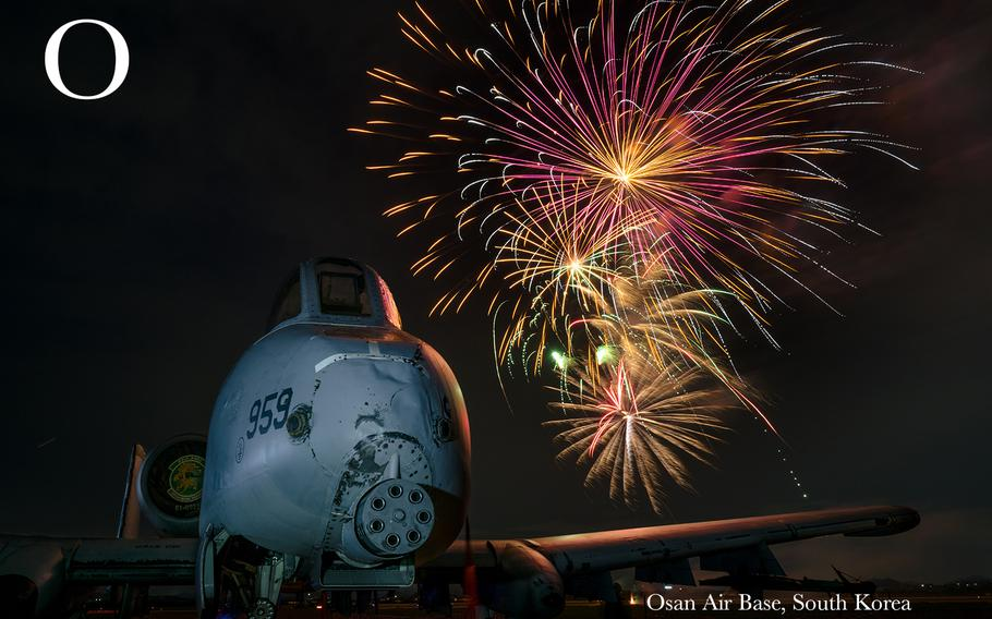An A-10 Thunderbolt II from the 25th Fighter Squadron sits on display during the 4th of July Liberty Festival at Osan Air Base, Republic of Korea, July 4, 2018.  More than 4,500 service members and their families attended the festival to enjoy food, entertainment and a fireworks show hosted by the 51st Force Support Squadron and various supporting organizations.