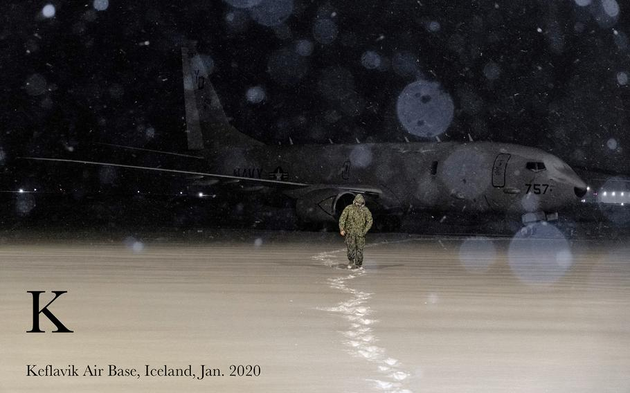 Aviation Electronics Technician 2nd Class Cody Forrester, assigned to the Skinny Dragons of Patrol Squadron (VP) 4 makes his way back to the squadron's hangar spaces on Keflavik Air Base, Jan. 02, 2020.