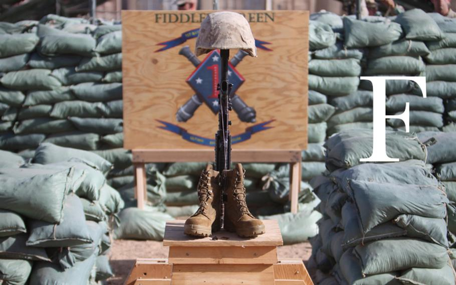 A memorial to U.S. Marine Corps Sgt. Ronald A. Rodriguez stands at Firebase Fiddler's Green in Helmand province, Afghanistan, Aug. 30, 2010. Rodriguez, assigned to the 1st Battalion, 11th Marine Regiment, was killed in action a week earlier.