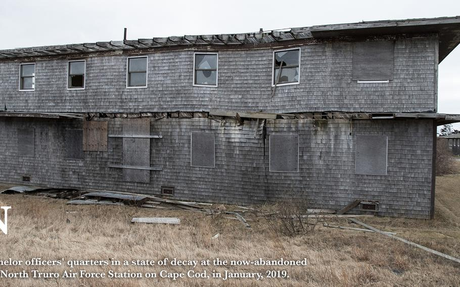 Bachelor officers' quarters in a state of decay at the now-abandoned North Truro Air Force Station on Cape Cod, in January 2019.