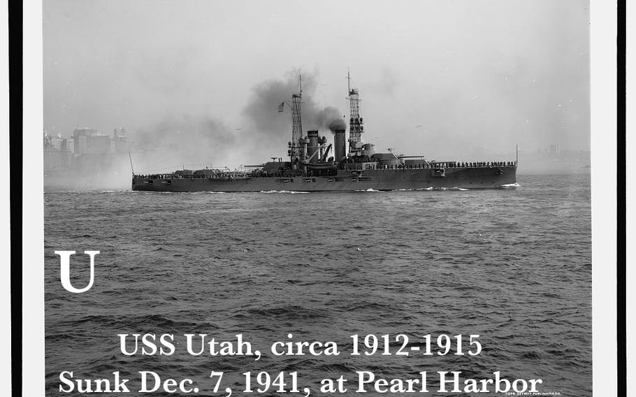 This image of the USS Utah was published sometime between 1912 and 1915, according to the Library of Congress. From Sept.-Nov. 1918, the Utah was based in southern Ireland to provide a covering force for the Allied forces during WWI, according to the Naval History and Heritage Command. In 1941, according to the Heritage Command, she was given additional guns. The USS Utah sank on Dec. 7, 1941, after being hit by a Japanese aerial torpedo attack.