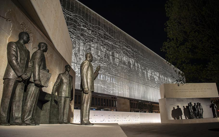 At left, a display that features sculptures depicting the 34th president standing with military and civilian advisors faces a display with sculptures depicting Gen. Eisenhower standing with paratroopers of the 101st Airborne Division before the Battle of Normandy at the new Dwight D. Eisenhower Memorial in Washington D.C., as seen on Sept. 8, 2020.