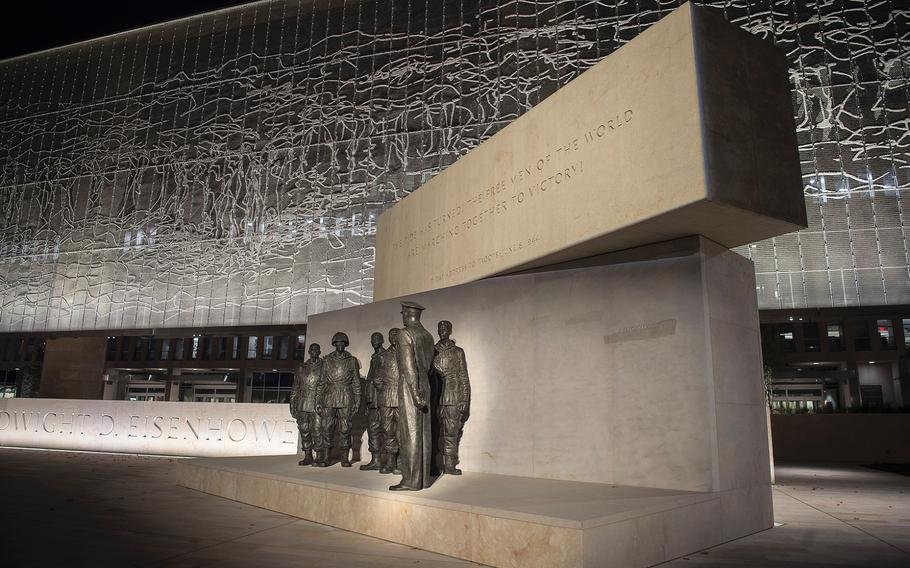 This display at the new Dwight D. Eisenhower Memorial in Washington D.C., features sculptures depicting Gen. Eisenhower standing with paratroopers of the 101st Airborne Division before the Battle of Normandy, as seen on Sept. 8, 2020.